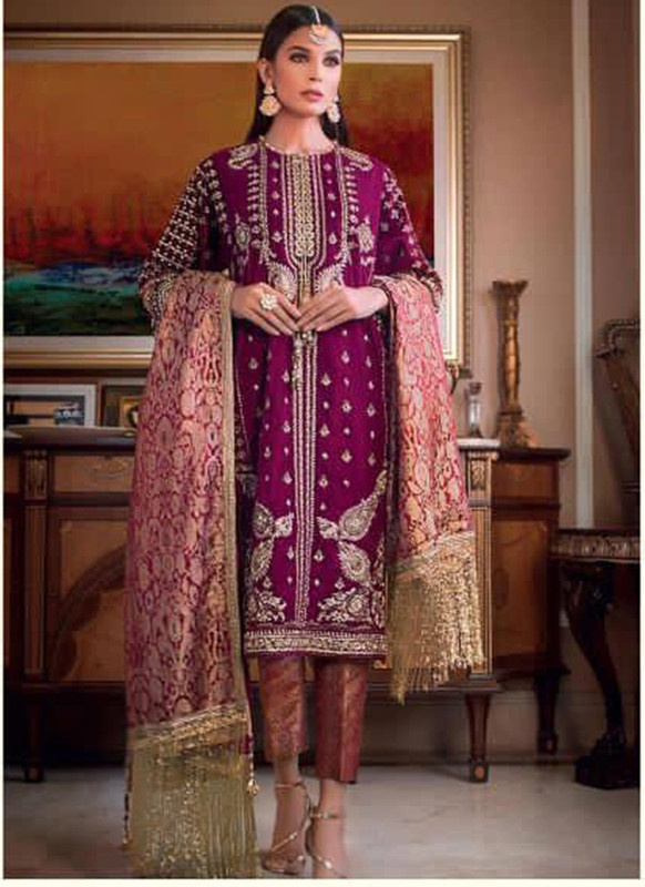 Dial N Fashion Purple Heavy Embroidred Designer Foux Georgette Pakistani Style Suit