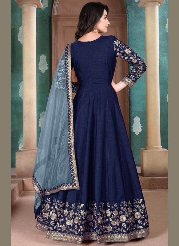 Dial N Fashion Aanaya Blue Silk Embroidered Work Party Wear Anarkali Salwar Kameez