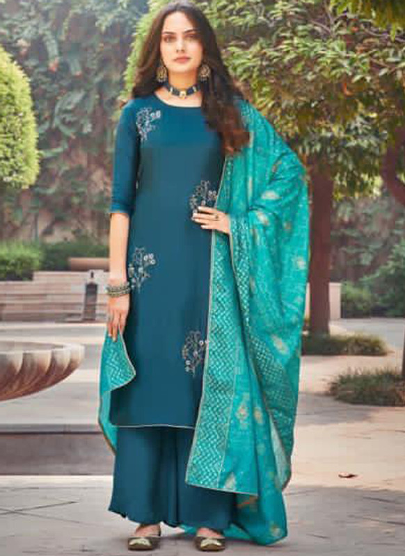 Dial N Fashion Blue Silk Embroidered Work Party Wear Palazzo Salwar Suit