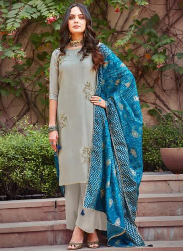 Sareeyag Grey Silk Embroidered Work Party Wear Palazzo Salwar Suit