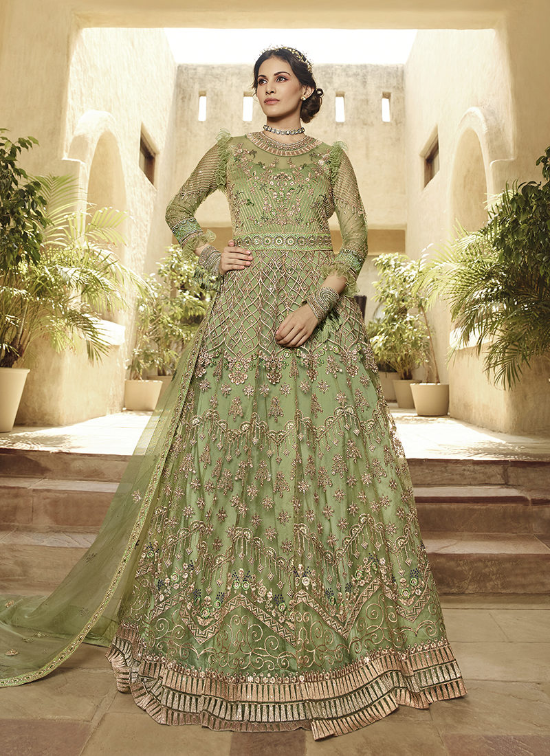 Glossy Amyra Shaivi Green Designer Wedding Wear Suit