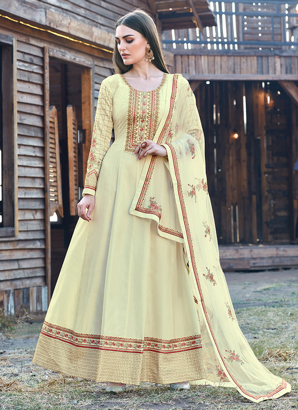 Bella Kashish Light Yellow Designer Party Wear Salwar Kameez