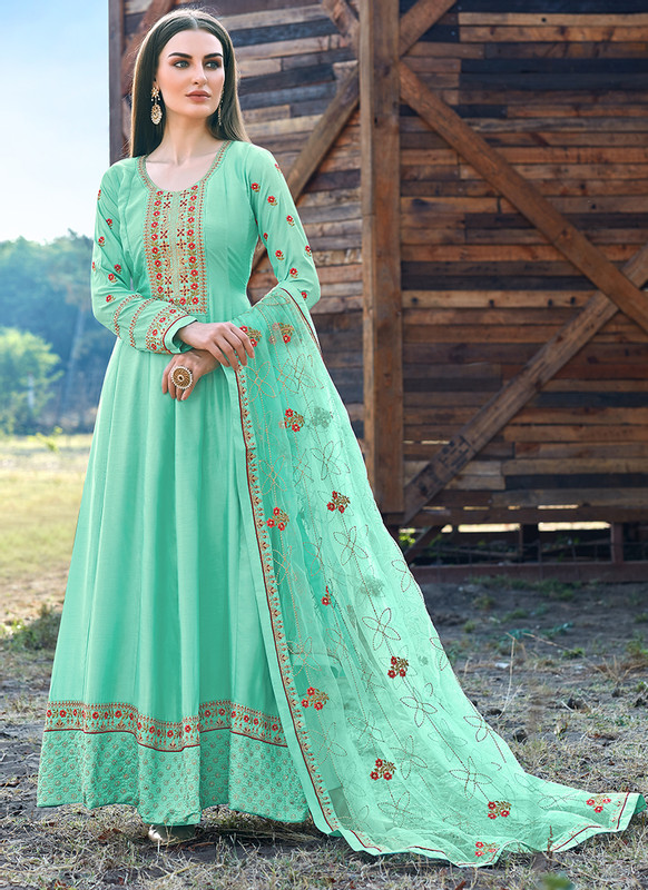 Bella Kashish Sea Green Designer Party Wear Salwar Kameez