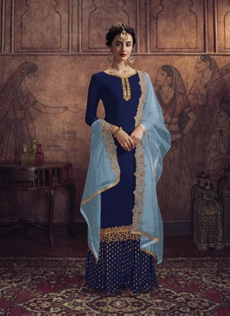 Dial N Fashion Designer Party Wear Navy Blue Pakistani Salwar Suit