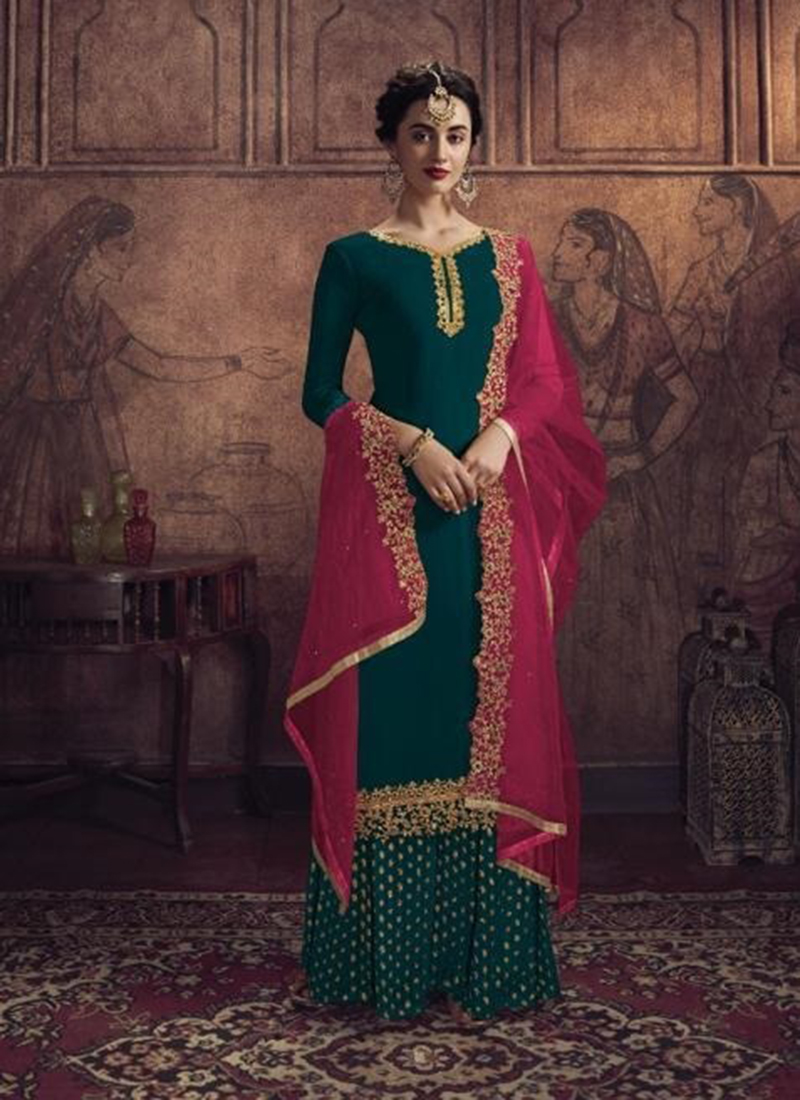 Dial N Fashion Designer Party Wear Green Pakistani Salwar Suit
