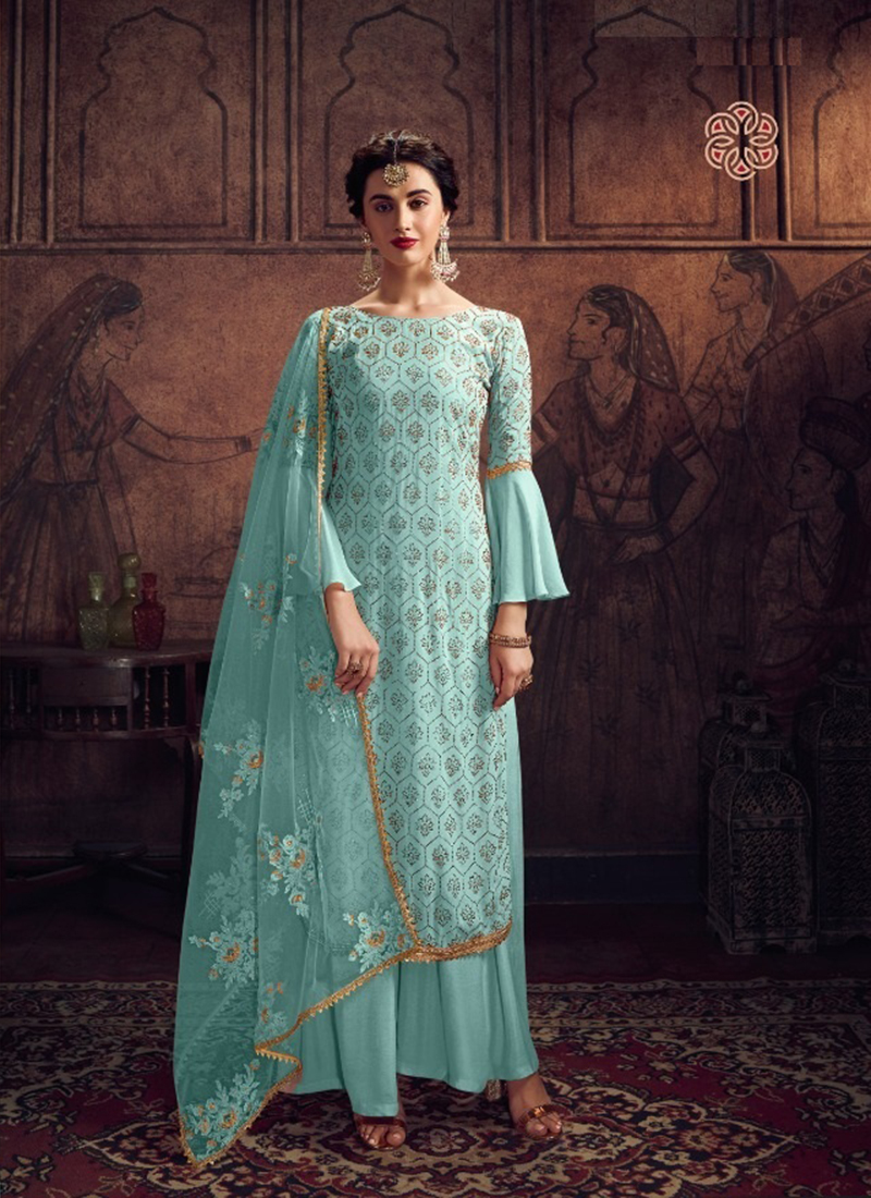 Dial N Fashion Designer Party Wear Blue Pakistani Salwar Suit
