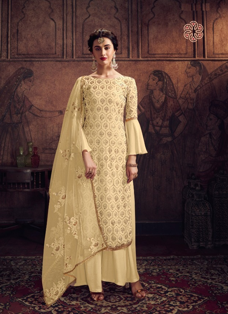 Dial N Fashion Designer Party Wear Yellow Pakistani Salwar Suit