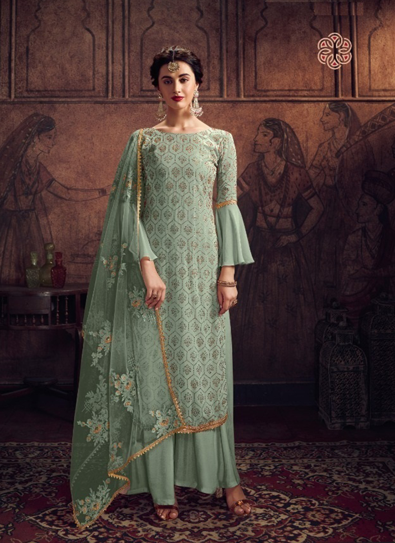 Dial N Fashion Designer Party Wear Yellow Sea Green Salwar Suit
