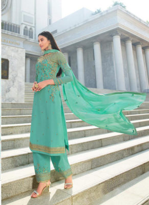 Dial N Fashion Peach Heavy Handwork Designer Georgette Pakistani Suit