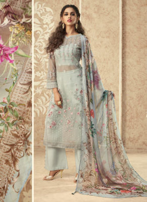 Zoya Grace Designer Light Sky Blue Color Suit with Floral Dupatta