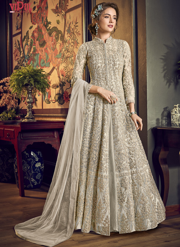 Dial N Fashion Cream Vipul Designer Party Wear Gown