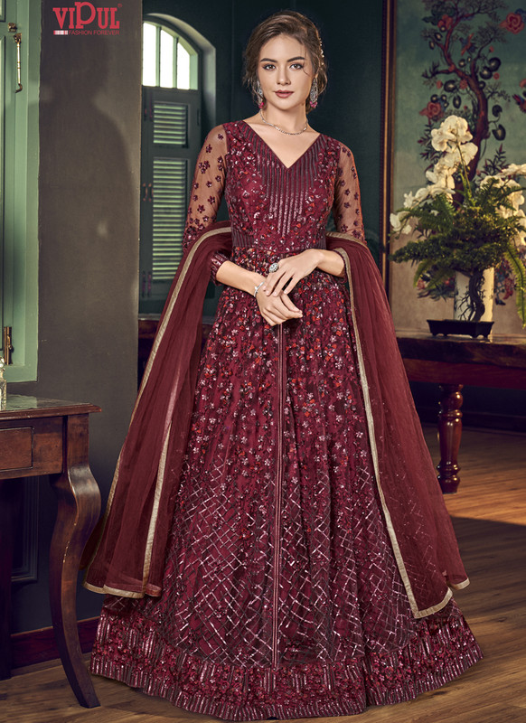 Dial N Fashion Red Vipul Designer Party Wear Gown