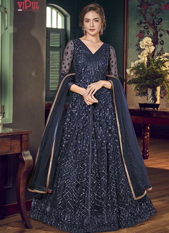 Dial N Fashion Blue Vipul Designer Party Wear Gown