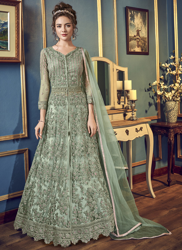Dial N Fashion Green Vipul Designer Party Wear Gown