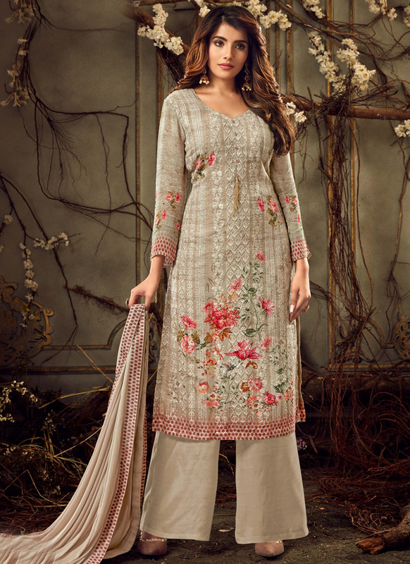 Lovely Beige Chicken Georgette Party Wear Salwar Kameez