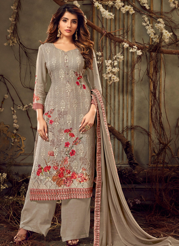 Amazing Beige Chicken Georgette Party Wear Salwar Kameez