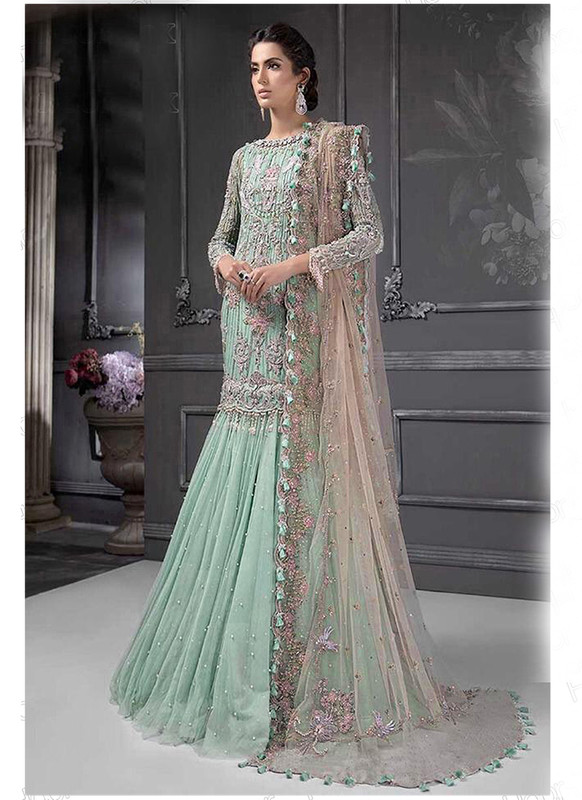 Dial N Fashion Pista Green  Letest Designer Heavy Net Party Wear Suit