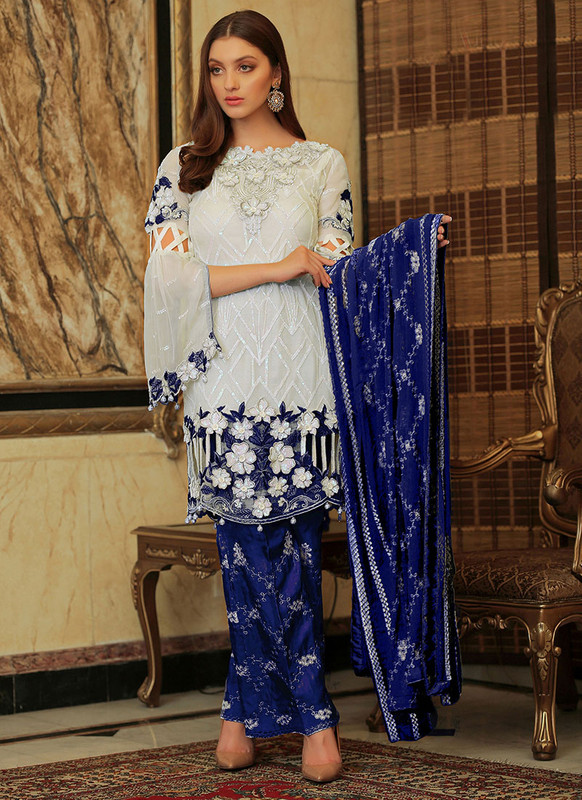 Dial N Fashion Off White  Letest Designer Pakistani Style Suit
