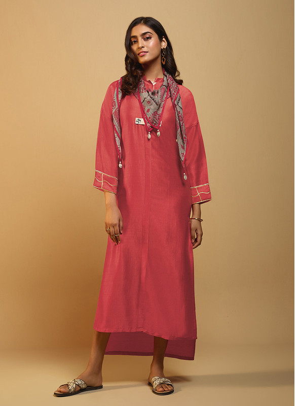 Om Text Gajari Casual Wear Designer Long Kurti With Scarf