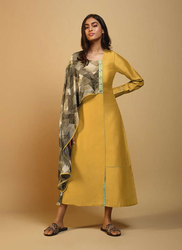 Om Text Yellow Casual Wear Designer Long Kurti With Scarf