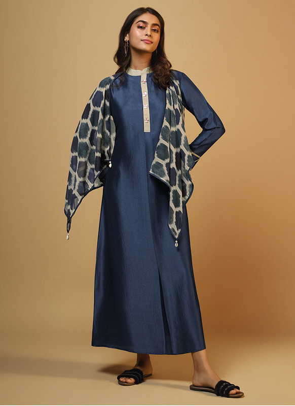 Om Text Teal Blue Casual Wear Designer Long Kurti With Scarf