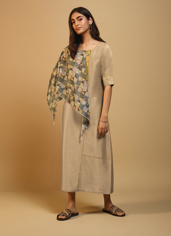 Om Text Beige Casual Wear Designer Long Kurti With Scarf