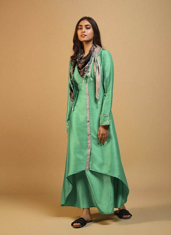 Om Text Green Casual Wear Designer Long Kurti With Scarf