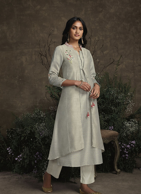 Om Text Grey Designer Party Wear Readymade Berry Silk Kurta With Bottom