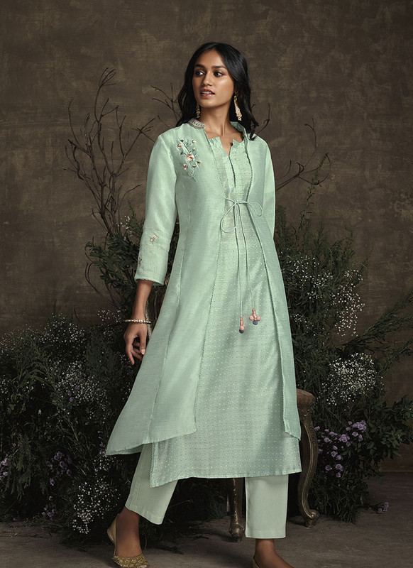 Om Text Aqua Green Designer Party Wear Readymade Berry Silk Kurta With Bottom