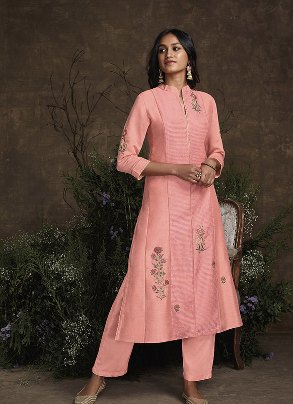 Om Text Light Pink Designer Party Wear Readymade Berry Silk Kurta With Bottom