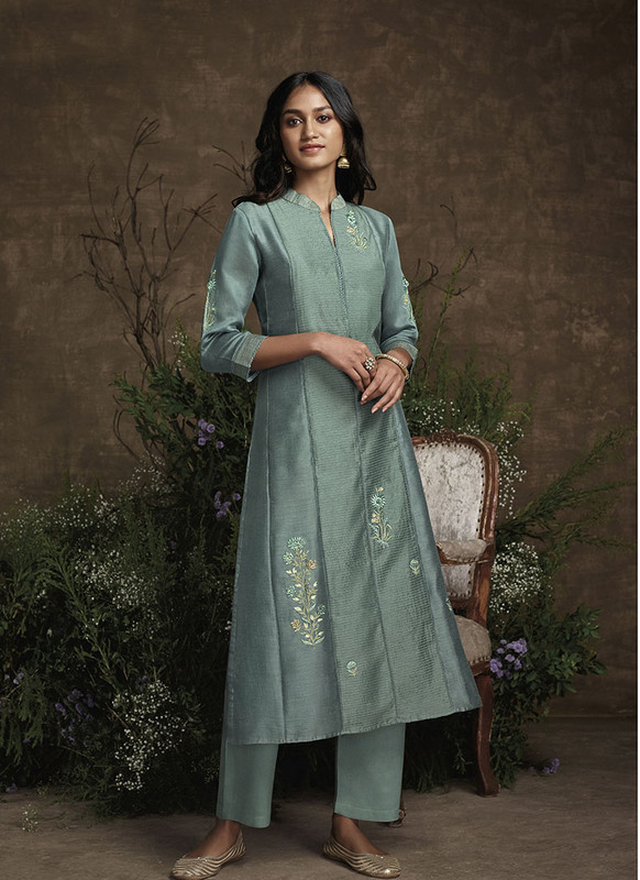 Om Text Sea Green Designer Party Wear Readymade Berry Silk Kurta With Bottom