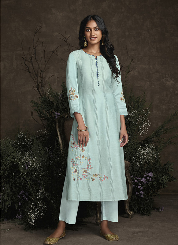 Om Text Sky Blue Designer Party Wear Readymade Berry Silk Kurta With Bottom