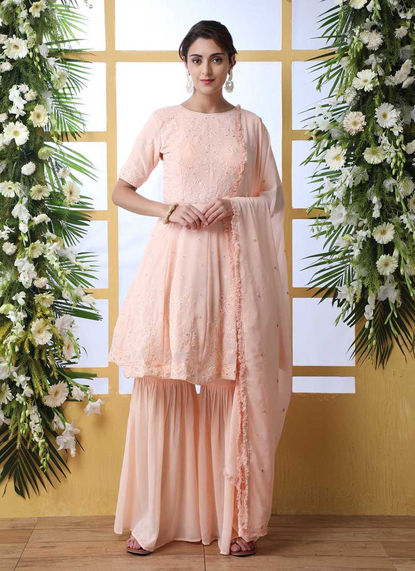 Shubhkala Flory Party Wear Peach Salwar Suit