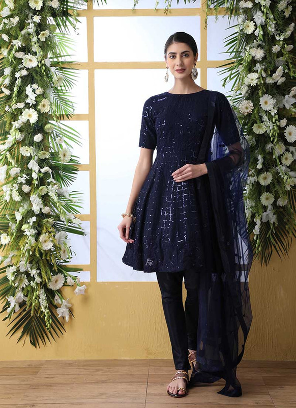 Shubhkala Flory Party Wear Navy Blue Salwar Suit
