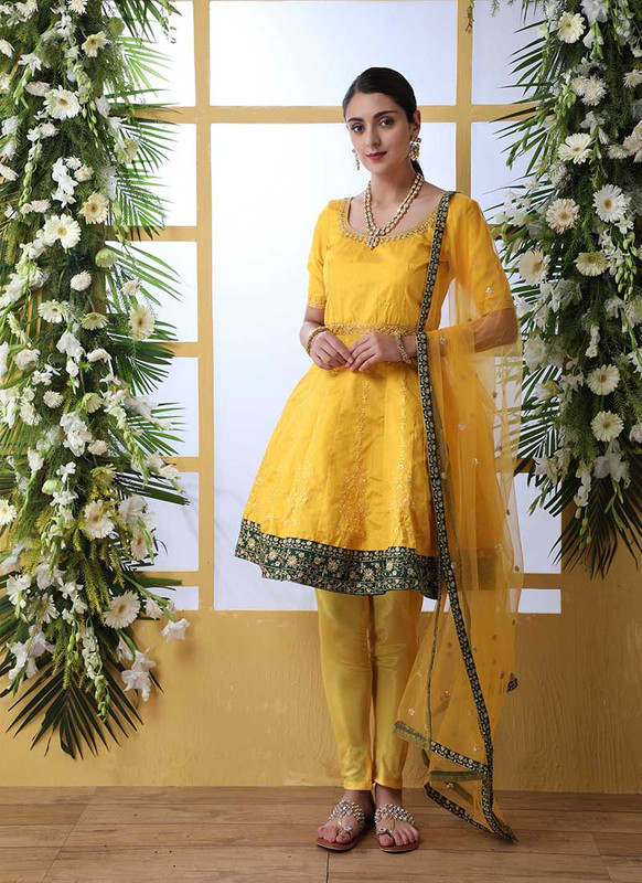 Shubhkala Flory Party Wear Yellow Salwar Suit