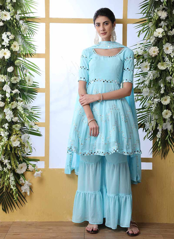 Shubhkala Flory Party Wear Sky Blue Salwar Suit