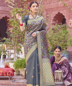 Dial N Fashion Grey  Designer Party Wear Weaving Silk Saree