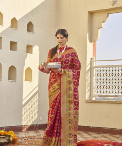 Dial N Fashion Red  Latest Designer Classic Wear Weaving Silk Saree