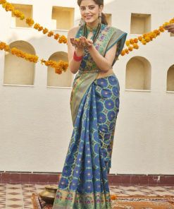 Dial N Fashion Blue  Latest Designer Classic Wear Weaving Silk Saree