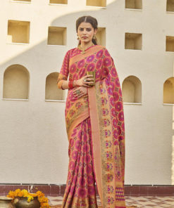 Dial N Fashion Pink  Latest Designer Classic Wear Weaving Silk Saree