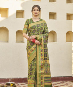 Dial N Fashion Green  Latest Designer Classic Wear Weaving Silk Saree
