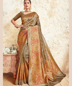 Dial N Fashion Copper Gold  Designer Party Wear Weaving Silk Saree