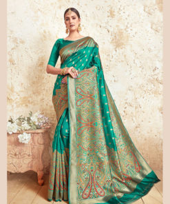Dial N Fashion Green  Designer Party Wear Weaving Silk Saree