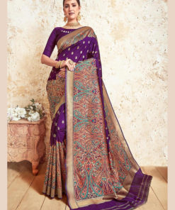 Dial N Fashion Purple  Designer Party Wear Weaving Silk Saree