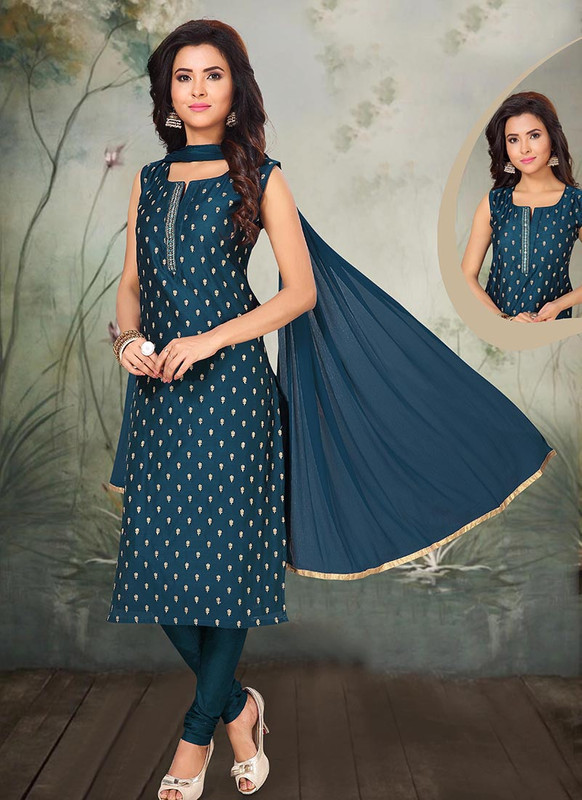 Dial N Fashion Teal Blue Latest Designer Party Wear Silk Salwar Suit