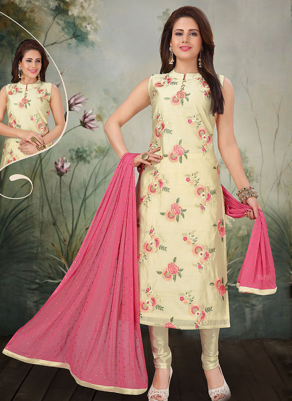 Dial N Fashion Pista Latest Designer Party Wear Silk Salwar Suit