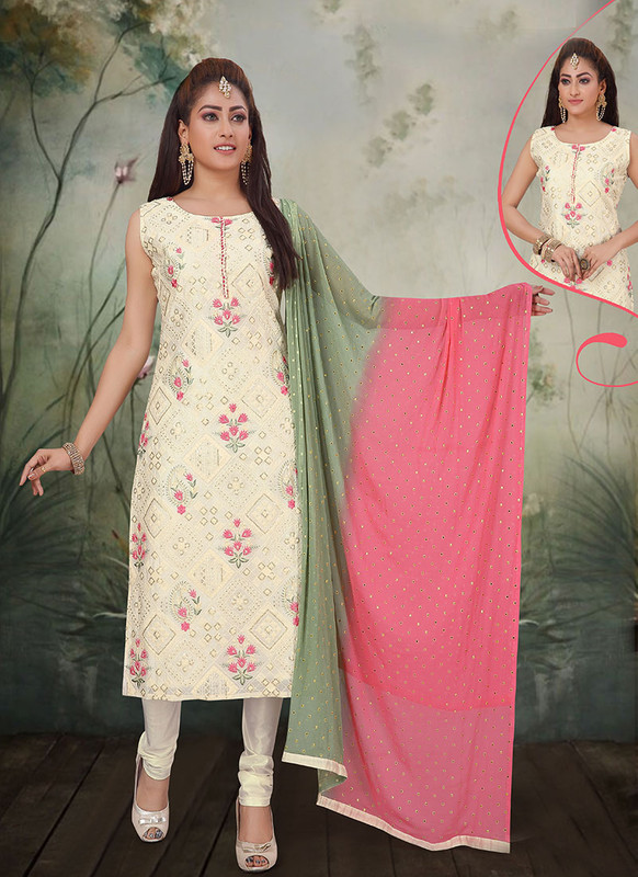 Dial N Fashion Off White Latest Designer Party Wear Silk Salwar Suit