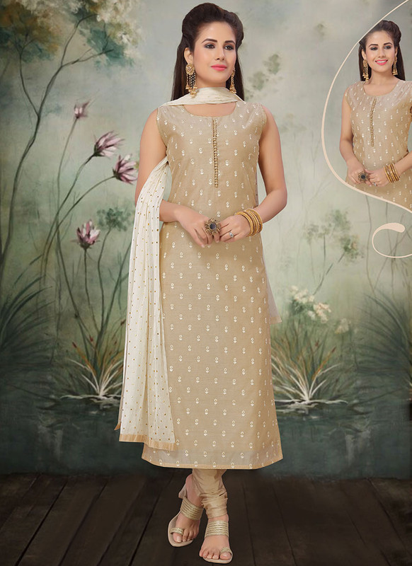 Dial N Fashion Beige Latest Designer Party Wear Silk Salwar Suit