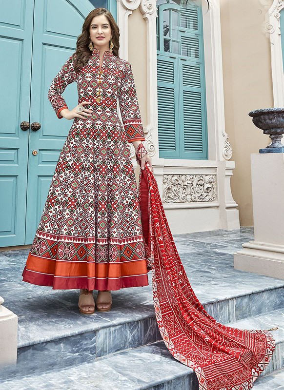 Dial N Fashion Multi  Designer Digital Patola Printed Work With Gown Suit