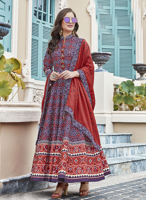 Dial N Fashion Purple  Designer Digital Patola Printed Work With Gown Suit
